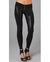 David Lerner | Black Leather Front Zip Leggings | Lyst