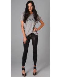 David Lerner - Black Leather Front Zip Leggings - Lyst