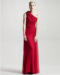 David Meister | Pink One-shoulder Rosette Gown | Lyst