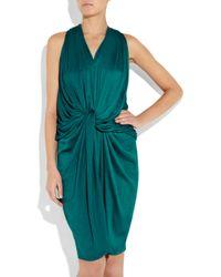 Lanvin - Blue Draped Washed-satin Halterneck Dress - Lyst