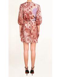 Tibi - Pink Swirl Paisley Wrap Dress - Lyst