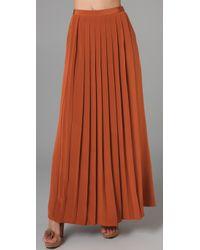 Tibi | Brown Long Pleated Skirt | Lyst