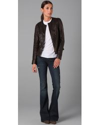 Vince | Brown Crew Neck Leather Jacket | Lyst
