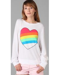 Wildfox - The Rainbow Bright Baggy Beach Pullover in White - Lyst