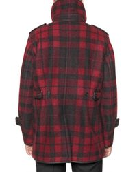 Burberry Prorsum | Black Plaid Pea Coat for Men | Lyst