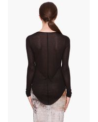 Helmut Lang - Black Sheer Modal Top - Lyst