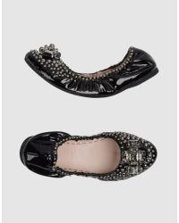 Miu Miu - Black Ballet Flats - Lyst