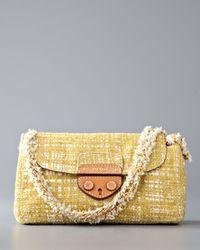 Prada | Yellow Tela Tweed Medium Shoulder Bag | Lyst
