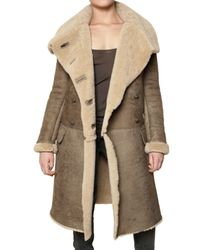 Balmain | Brown Shearling Coat | Lyst