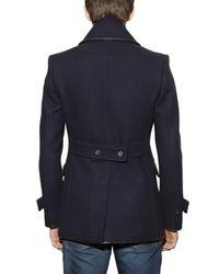 Burberry Prorsum - Blue Leather Trimmed Pea Coat for Men - Lyst