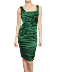 Dolce & Gabbana - Green Gathered Silk Dress - Lyst