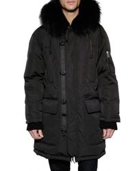 DSquared² | Black Rabbit and Racoon Hooded Parka Jacket for Men | Lyst