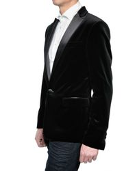 DSquared² | Black Satin Revere Velvet Jacket for Men | Lyst