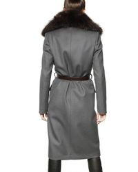 DSquared² | Gray Racoon Collar Wool Twill Coat | Lyst