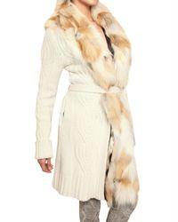 Roberto Cavalli - White Long Cardigan with Detachable Fox Collar - Lyst