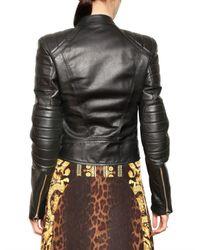 Versace | Black Nappa Biker Leather Jacket | Lyst