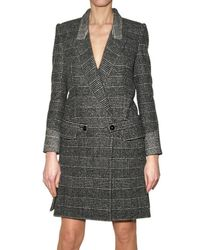 Saint Laurent | Gray Prince Of Wales Tweed Riding Coat | Lyst