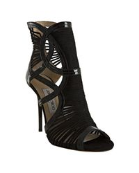 Jimmy Choo | Black Emily Cutout Patent-leather and Suede Sandals | Lyst