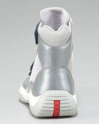 Prada - Blue Grip-strap High-top Sneaker - Lyst