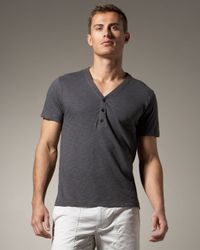 Theory | Gray Short-sleeve V-neck Henley, Magnet for Men | Lyst