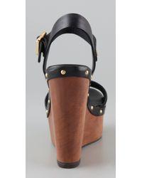Tory Burch | Black Tatum Wedge Sandals | Lyst