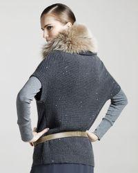 Brunello Cucinelli | Gray Cashmere-silk Pailette Knit Sweater | Lyst