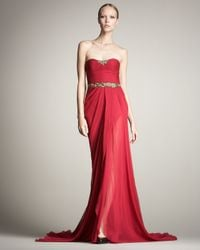 Jason Wu | Red Strapless Chiffon Gown | Lyst