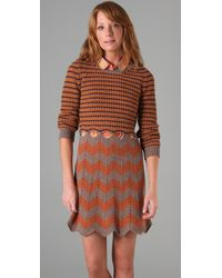 See By Chloé - Brown Striped Sweater Dress - Lyst
