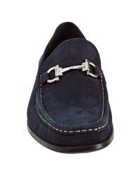 Ferragamo   Blue Pacifico Pebbled Leather Driver Black for Men   Lyst