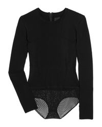 American Retro | Black Willow Ribbed Sweater Bodysuit | Lyst