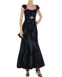 Badgley Mischka | Blue Embellished Taffeta Gown | Lyst