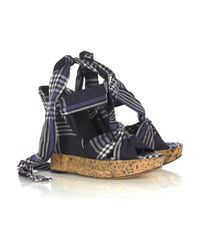 Donna Karan | Blue Plaid Cork Wedge Sandals | Lyst