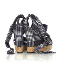 Donna Karan | Blue Plaid Cork Wedge Sandals | Lyst