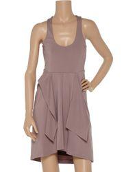 Halston | Brown Tie-front Jersey Dress | Lyst