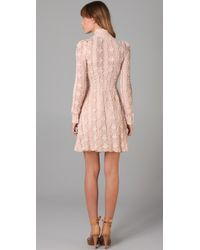 RED Valentino - Pink Long Sleeve Lace Dress - Lyst