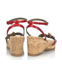 Stella McCartney - Red Cork Wedge Sandal - Lyst