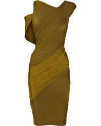 Donna Karan | Green Asymmetric Stretch-jersey Dress | Lyst