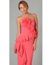 Notte by Marchesa | Pink Strapless Cascade-ruffle Gown | Lyst