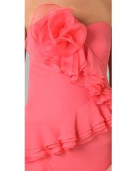 Notte by Marchesa - Pink Strapless Cascade-ruffle Gown - Lyst
