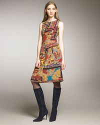 Oscar de la Renta | Multicolor Paisley Patchwork Dress | Lyst