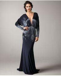 Naeem Khan - Blue Deep-v Sequin Gown - Lyst