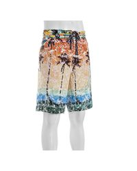 Robert Graham | Orange Sunset Palm Tree Printed Runabout Board Shorts for Men | Lyst
