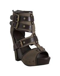 Ash | Brown Military Canvas and Leather Lyn Buckle Wedge Sandals | Lyst