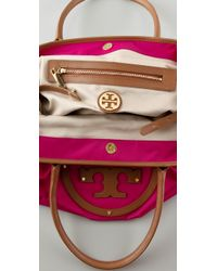 Tory Burch | Purple Stacked Logo Classic Tote | Lyst