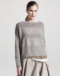 Brunello Cucinelli - Gray Striped Sweater - Lyst