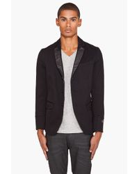 DIESEL | Joppo Leather Trim Blazer Black for Men | Lyst