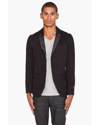 DIESEL - Joppo Leather Trim Blazer Black for Men - Lyst