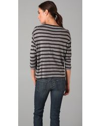 Vince - Gray Striped 3/4 Sleeve Tee in Black/ White - Lyst