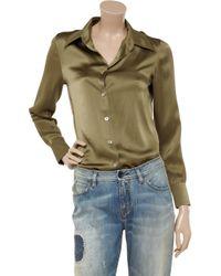 Equipment - Green Fanfare Silk-satin Shirt - Lyst