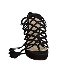 Christian Louboutin | Black Exclusive Salsbourg Suede Sandal | Lyst